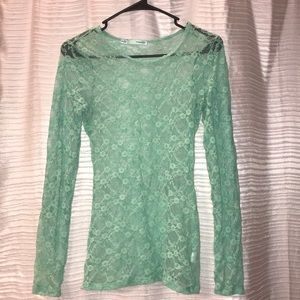 Long sleeve turquoise lace top